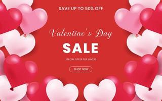 Valentine's Day Sale banner with border frame made of heart balloons