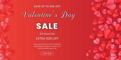 Happy Valentine's Day banner with origami hearts on red