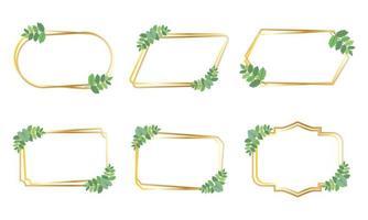 Conjunto de marcos dorados con hojas verdes vector
