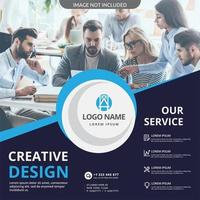 Blue Social Banner with Angle and Circle Details