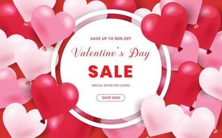 Happy Valentine's Day, 50% Sale banner. Holiday background with border frame made of realistic heart shaped red, pink and white balloons. Horizontal poster, flyer, greeting card, header for website.