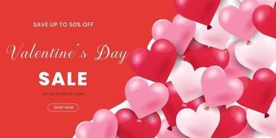 Banner de venda de dia dos namorados coração em forma de balões vermelhos, rosa e brancos