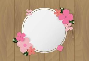Colorful flowers on wooden frame vector