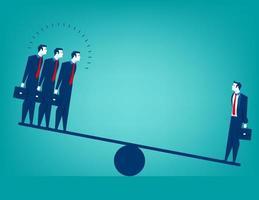Businessman on Seesaw Balance Concept vector