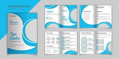 Plantilla de diseño de folleto de 8 páginas de Blue Spa vector