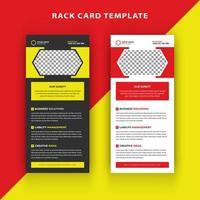 Tarjeta de rack amarilla y roja con forma hexagonal para imagen