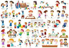 Crianças no conjunto de atividades divertidas educativas vetor