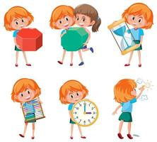 Children holding math objects