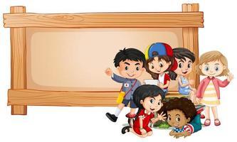 Banner en blanco con niños vector