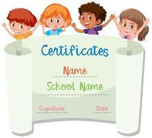 International kids in certificate template vector