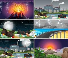 Set of polluted scenes and volcanos