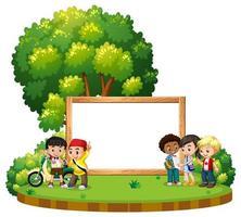 Plantilla de banner con niños en el parque