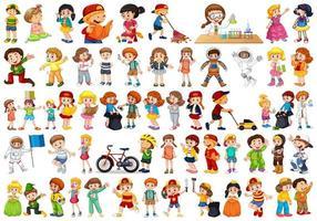 Uppsättning av barn som gör aktiviteter