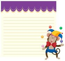 A monkey on note template vector