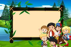Banner Template with Kids in Park  vector