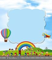 Blank cloud with children and rainbow vector
