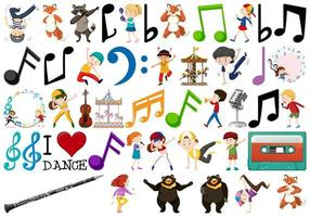 Set de música con niños jugando y bailando vector