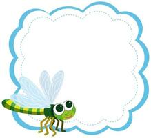 A dragonfly on note template
