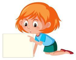 jeune fille pointant sur un papier vierge vecteur