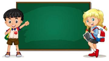 Chalkboard Template and Students vector