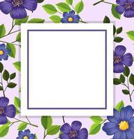 Purple flower card template vector