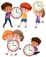 Enfants et temps sur fond blanc