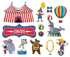 Set of various circus objects