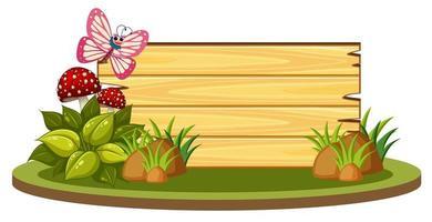 estandarte de madera en blanco vector