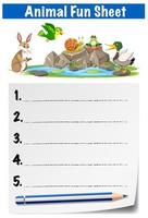 Wild animal fun sheet