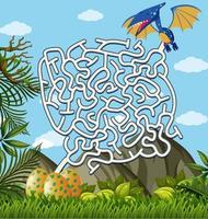 Jogo de quebra-cabeça labirinto dos pterossauros vetor