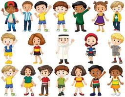 Conjunto de diversos niños saludando vector