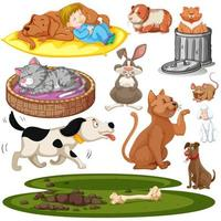 Set of Kids and Pets Isolated Elements