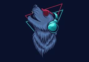 Wolf headphone design vector