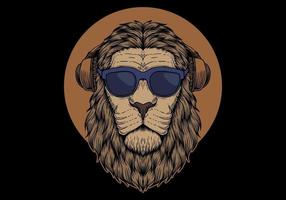 Lion head with sunglasses vector