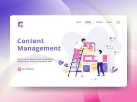 Content Management Landing Page vector
