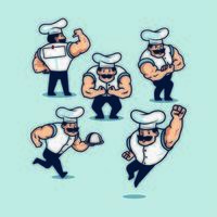 Set of Cartoon Bodybuilder Chef