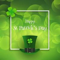 st patricks day background with top hat and shamrock vector