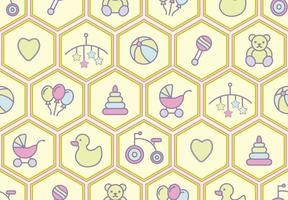 Baby Toys Seamless Pattern with rattle, Bear, Tricycle and More