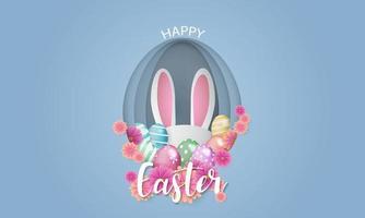 Fondo de Pascua con orejas de conejo dentro de forma de huevo