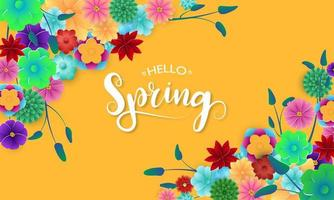 Spring Banner with Colorful Flowers in Corners vector