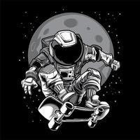 Ilustración del monopatín del astronauta vector