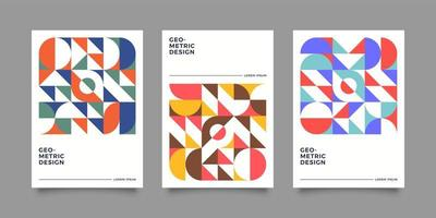 Retro bauhasus geometric cover design vector