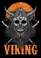 Ilustración de zombi vikingo con luna vector