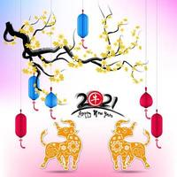Cherry blossom and Ox animals for Chinese new year 2021 vector