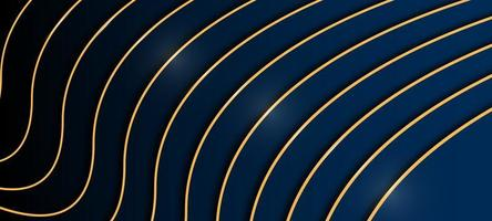 Elegant Blue and Black Background with Gold Lines