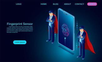 Login fingerprint sensor on screen phone in Isometric Style vector