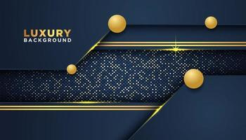 Abstract Navy and Gold background with overlapping layers vector