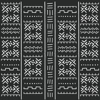 Black and white tribal ethnic pattern with geometric elements