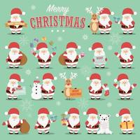 Collection of cute Santa Claus characters with reindeer, bear, snowman and gifts vector