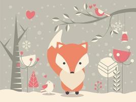 Lindo zorro bebé de Navidad rodeado de decoración floral vector